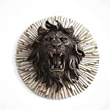 zenggp Cabezas De Animales De León Colgador De Pared Colgante Adorno para El Hogar Estatuas De Resina Artesanía Decoración Chimenea,Lion-29cm