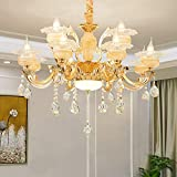 YUYUE Crystal Chandeliers,Vintage Pendant Lighting Modern Contemporary Chandelier European Ceiling Pendant Lights,Ceiling Light Fixture for Living Room Bedroom Restaurant, E12 Bulbs Required (8 Blub)