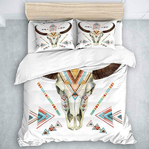 Juego de Funda nórdica, cráneo de Vaca en Estilo Tribal Animal con Adornos étnicos, Juego de Funda nórdica de Calidad hotelera, 3 Piezas