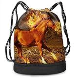 OKIJH Mochila Mochila de Ocio Mochila con cordón Mochila Multifuncional Bolsa de Gimnasio Gymsack Drawstring Bag Sackpack Fire Horse Sport Cinch Pack Simple Bundle Pocke Backpack For Men Women