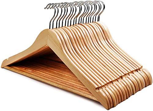 HOUSE DAY Grucce Appendiabiti in Legno Premium, 20 Pezzi, con tacche e Barra girevoli a 360°, per Pantaloni, Vestiti, Giacca, -44,5 cm Colore Naturale