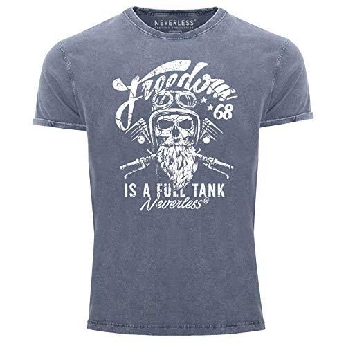 Neverless® Herren T-Shirt Vintage Shirt Printshirt Biker Spruch Motiv Totenkopf Used Look Slim Fit blau XXL