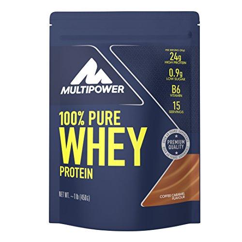 Multipower 100% Pure Whey Protein - Fino a 80% di Proteine del Siero del Latte - Proteine Isolate come Fonte Principale - 15 Porzioni - Per lo sviluppo Muscolare - 450 g - Gusto Caffè e Caramello