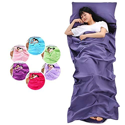 CAR SHUN Soft Sleeping Bag Liner-Drap de Voyage léger Camping Sac de Sommeil prévenir Sale sur l'hôtel d'affaires,Purple,80 * 210cm