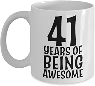 41 Years of Being Awesome Cup - 41st Birthday Coffee Mug for Men Women Him Her - Born in 1978 Year Old Celebration - Funny Joke Gag Gift Party Decoration - Brother Sister Wife Husband - 11oz