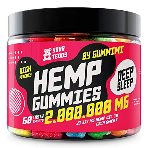 Gummies for Pain, Anxiety, Sleep, Stress Relief - Organic - Candy Gummy Bears with Oil - Rich in Vitamins B, E and Omega 3, 6, 9