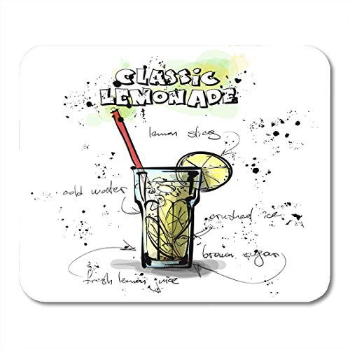 Mauspads Künstlerische schwarze Cocktail-Hand gezeichnet mit Limonade Sketch Style Collection Zeichenleiste Mauspad für Notebooks, Desktop-Computer Mausmatten, Büromaterial