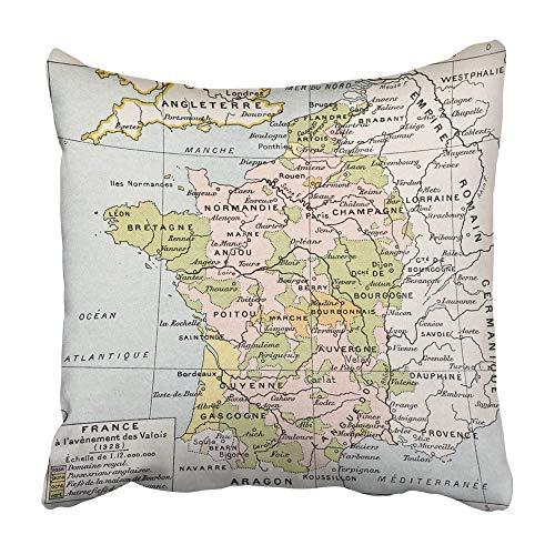 QUEMIN Fundas Decorativas para Fundas de Cojines Mapa político de Francia en 1328 por Paul Vidal De Lablache Atlas Classique Librerie Colin Paris 1894,18x18 Inch