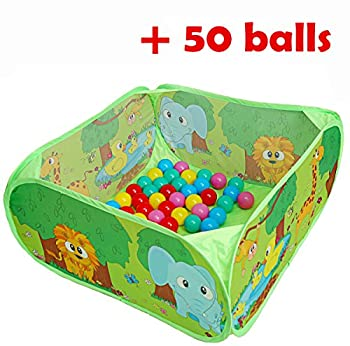 PLAY 10 Ball Pit with 50 Ocean Balls Included Baby Pop up Playpen with Pit Balls