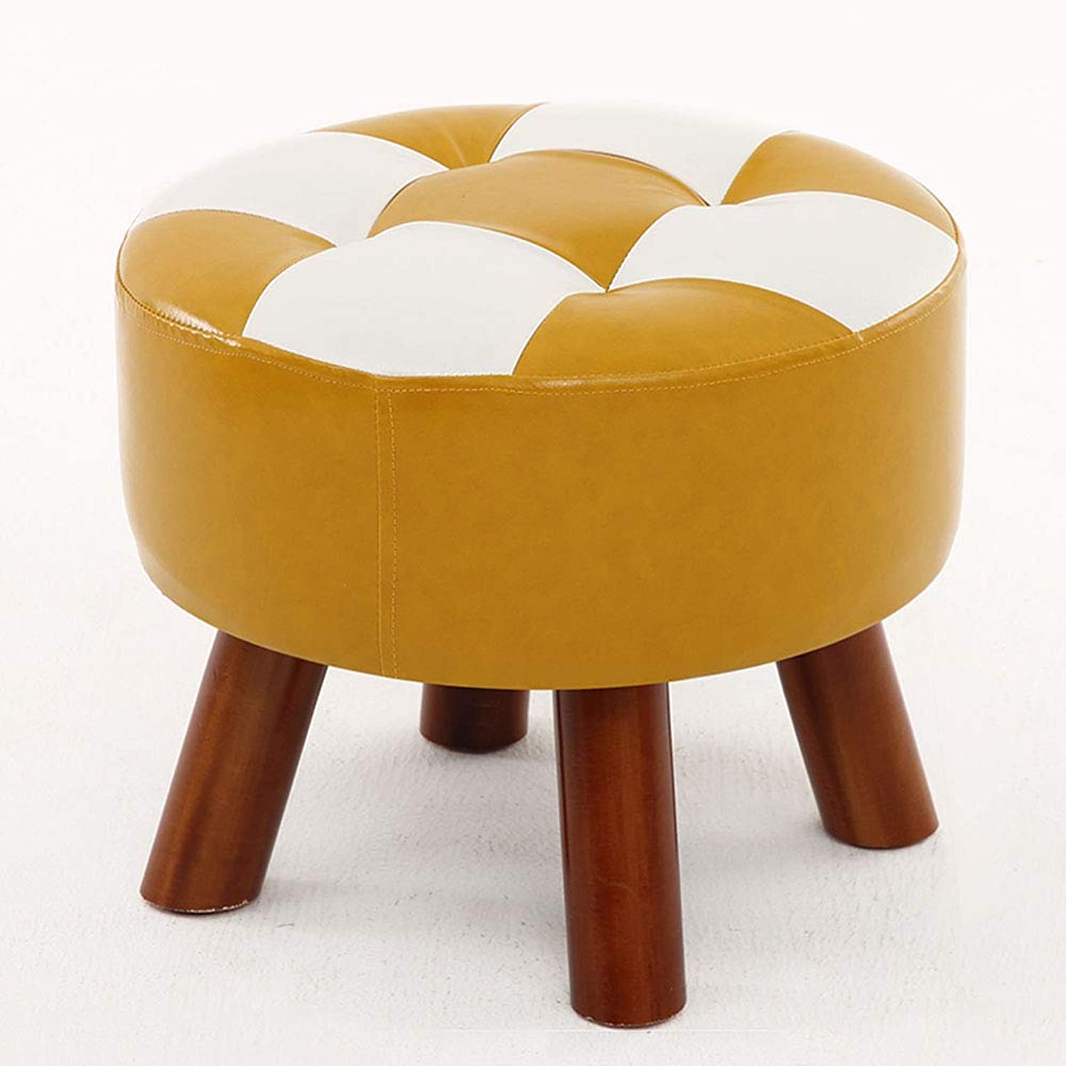 ZXQZ Stool Solid Wood Imitation Leather Footstool 40x32cm Change shoes Sofa Stool (color   A)