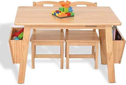 ZH Kindertisch Und 2 StüHle Set, Massiv Holz Mit Aufbewahrungs Box, Keilform, Robust Und Stabil, Holzfarbe, Weiß, 80 cm Desktop