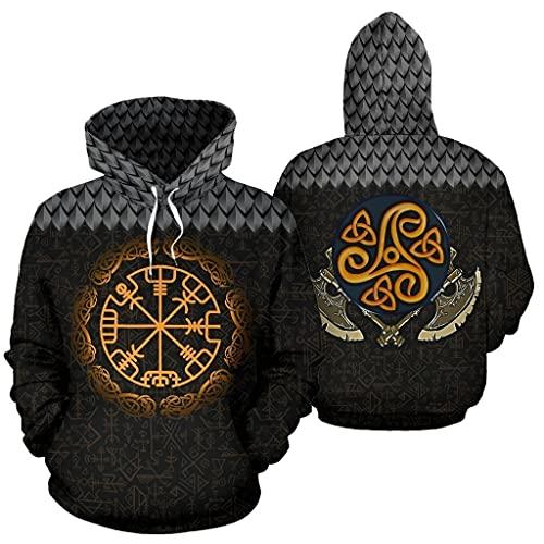 XBOMEN Viking Novedad Sudadera con Capucha, Impresión 3D Odin Celtic Tree of Life Disfraz Calle Tatuaje Noruego, Disfraz Amuleto Pagano Mitología Nórdica (Color : Tree of Life, Size : M)