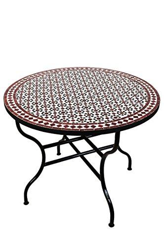 ORIGINAL Marokkanischer Mosaiktisch Gartentisch ø 100cm Groß rund klappbar | Runder klappbarer Mosaik Esstisch Mediterran | als Klapptisch für Balkon oder Garten | (Albaicin Schwarz Weiss Bordeaux)