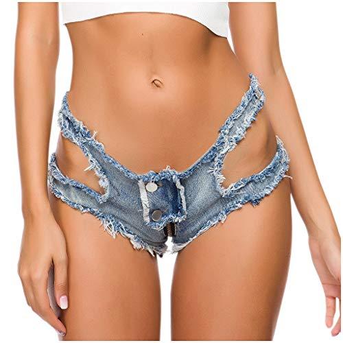 Hot Sexy Jeans Shorts Sommer Party Nacht Club Hotpants Denim Kurz Hosen Damen High Waist Mini Tanga Lochjeans Zerrissenes Gewaschene Löcher Hotpant Frauen Mädchen Ausgefranste Seil String Dessous