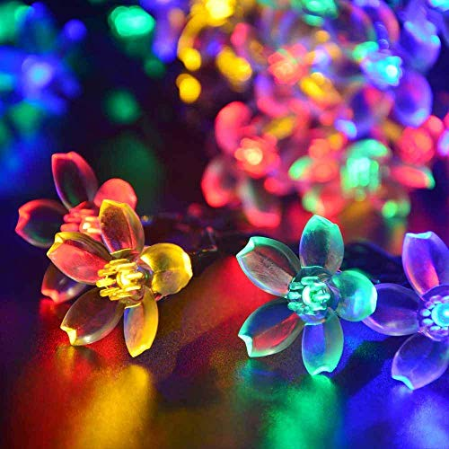 Qedertek Solar String Lights, 21ft 50 LED Fairy Blossom Flower Garden Lights for Indoor and Outdoor, Home, Lawn, Wedding, Patio, Party and Holiday Decorations (Multi-Color)