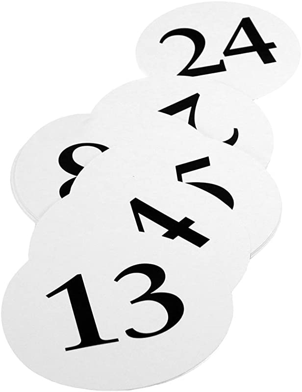 Weddingstar Round Table Number Cards Numbers 13 To 24