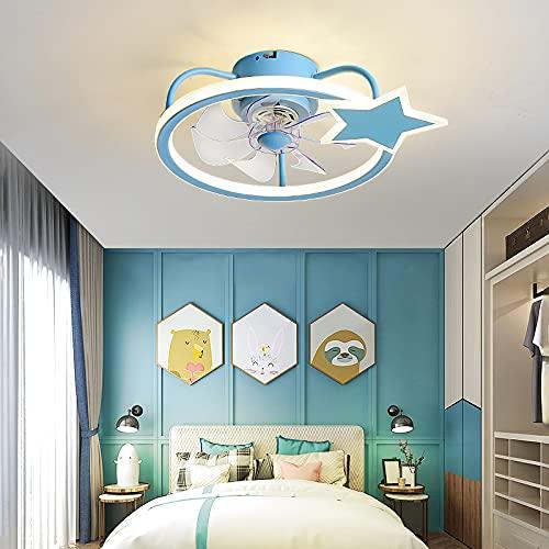 HAITOY Ventilador de Techo Luz con LED Iluminación, Luz de Techo de Estrella de Cinco Puntas, Moderno Regulable para Silencioso Niños Dormitorio Iluminación Decorativo,Azul