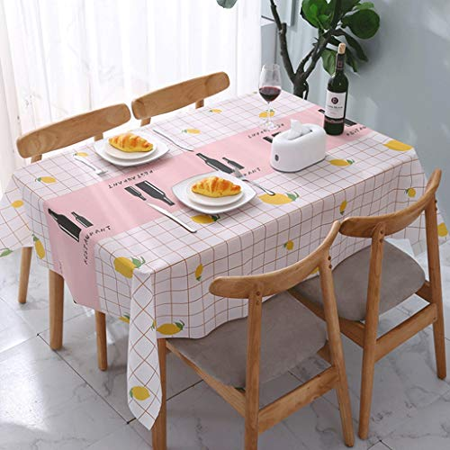 DYXYH Café de Cocina Mantel de Dibujos Animados Rectangular Cuadrado Mantel Tela PVC Impermeable a Prueba de Aceite Decorativo Cubierta de Mesa. (Color : Pink, Size : 180 * 137cm)