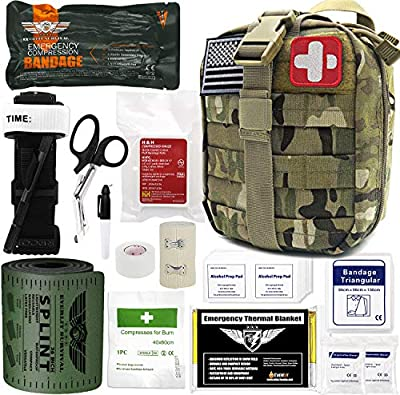 """Everlit Emergency Trauma Kit GEN-I with Aluminum Tourniquet 36"""" Splint, Military Combat Tactical IFAK for First Aid Response, Critical Wounds, Severe Bleeding Control (GEN-1 Camouflage)"""