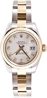 Ladys 179173 Datejust Steel & 18k Gold, Oyster Band, Fluted Bezel & White Diamond Dial
