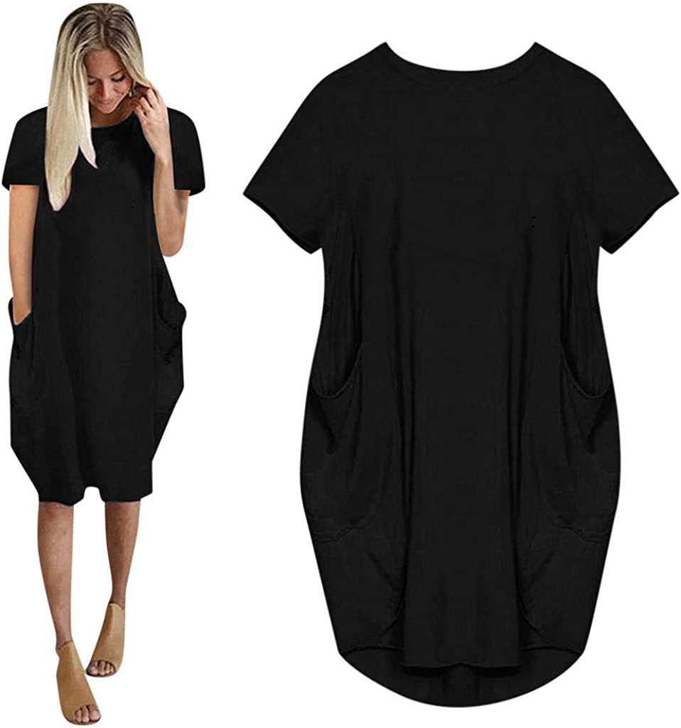 Women Tunic Dress Loose Short Sleeve Solid Color Oversize Baggy Summer Shirt Mini Dresses with Pockets