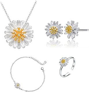 ONEYIM 5Pcs Women Fashion Jewelry Set Silver Small Daisy Flower Necklace Earring Ring Bangle Set Jewelry Sets