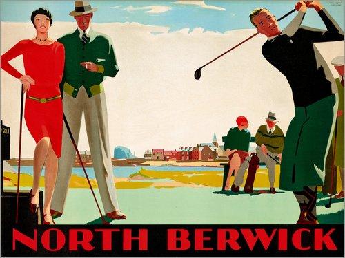 Posterlounge Cuadro de Madera 80 x 60 cm: North Berwick Golf Club de Andrew Johnson/ARTOTHEK