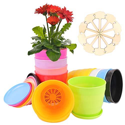 Colmanda Vasi per Piante, 10 Pezzi Vasi per Piante in Colorati e 10 Etichette di Piante in Bambù, Colorati Vasi per Fiori con Foro di Drenaggio per Arredo Casa Giardinaggio Domestico (10 Pezzi)