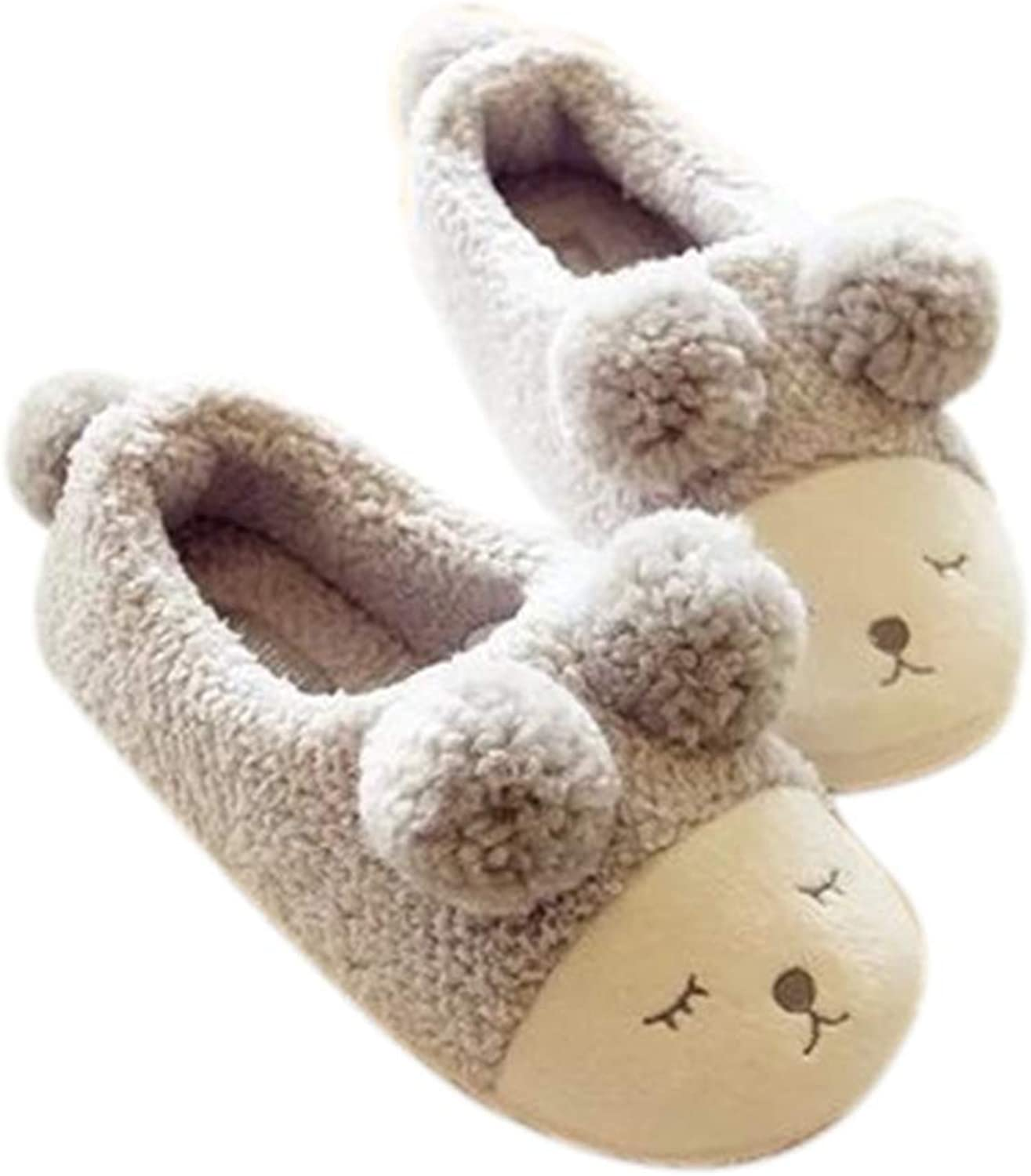 Nafanio Winter Home Slippers Women House for Indoor Bedroom House Warm Plush Adult Cute Sheep Animal Flats shoes