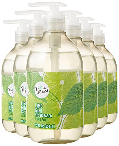 Amazon Brand - Presto! Biobased Hand Soap, Lime Mint Scent, 12 Fluid Ounces, Pack of 6