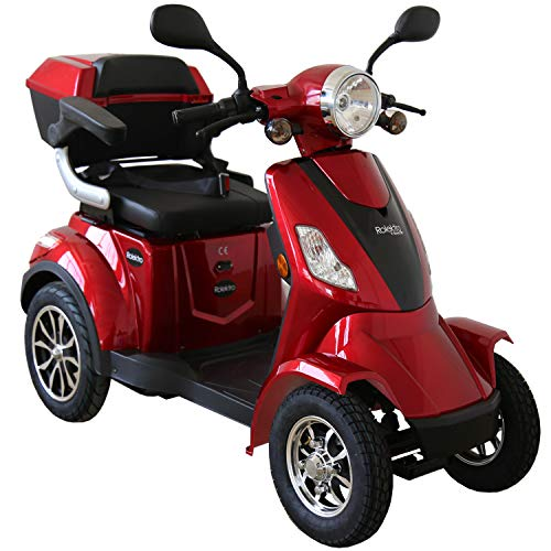 Rolektro E-Quad-15 Rot Elektromobil Elektroroller 4-Rad 1000W 15 Km/H RW 50KM Koffer Rückwärtsgang USB EU-Zulassung