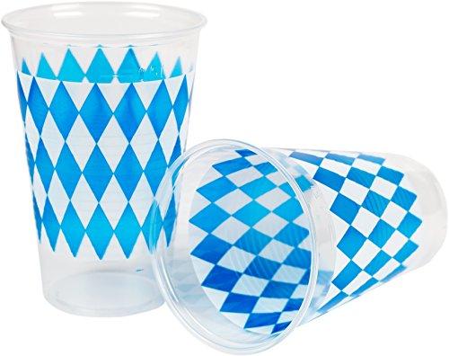 HEKU 30450-B: 50 Bierbecher mit Motiv Bayrisch Blau, 0,5l, Ø 95mm