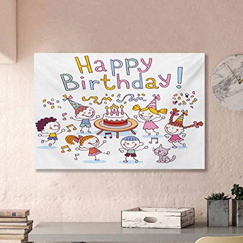 ParadiseDecor Kids Birthday TV Wall Poster Kindergarten Children Celebration Festive Set Up Creamy Cake Candle Print Gifts for dad Multicolor L36 x H24 Inch