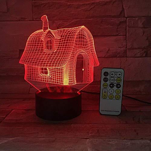Luz tridimensional casa vieja luz nocturna interruptor táctil USB 3D control remoto acrílico 7 colores degradado atmósfera luz DIY regalo para niños
