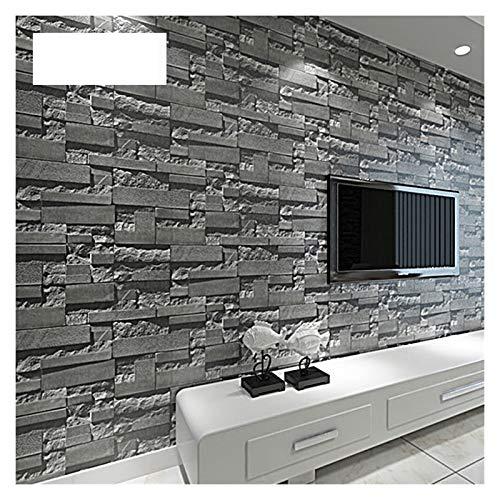 Selbstklebende Tapete 3D Slate Stone Brick-Effekt waschbar Vinyl-PVC-Tapeten Wohnzimmer-Hintergrund-Tapete Tapete Schwarz, Grau für Zuhause ( Color : WP07101 Black Grey , Dimensions : 10mx53cm )