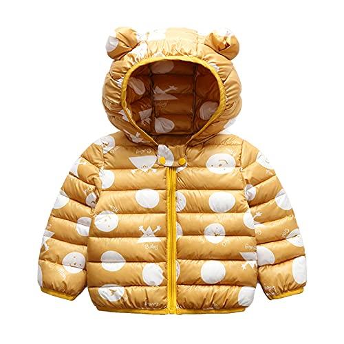Bebé Chaqueta Invierno, Niños Niñas Abrigo con Capucha Traje de Nieve Manga Larga Outfits Calentar Warmer Regalos Ropa 6-12 Meses,Amarillo