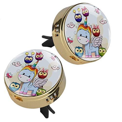 2 medallones con diseño de unicornio para aromaterapia de coche con cierre magnético con clip de ventilación, 4 almohadillas de repuesto (doradas)