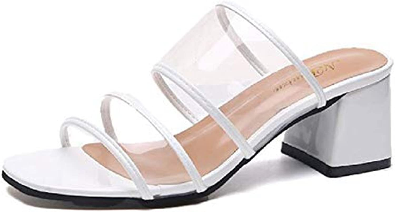 T-JULY Women's Transparent Chunky Heel Slide Sandals Peep Toe Slip on Dress Slipper Summer Beach shoes