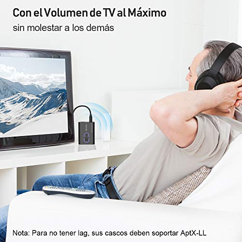 Miilink Transmisor Receptor Bluetooth Audio 2 en 1, Adaptador Bluetooth 5.0 TV con Jack 3,5mm, Transmisor Bluetooth Audio Aptx Baja Latencia Doble Enlace, Bluetooth Audio para Stereo, TV, Coche