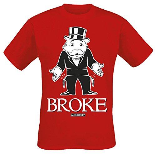 Monopoly Broke Camiseta Rojo S, 100% algodón, Corte Normal
