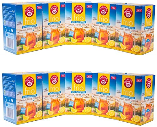 Teekanne frio Classic Eistee Zitrone, 10er Pack (10 x 18 Teebeutel), 10 x 45 g