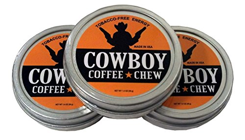 Cowboy Coffee Chew (Pack of 3) Quit Chewing Tin Can Non Tobacco Nicotine Smokeless Alternative to Dip Snuff Snus Leaf