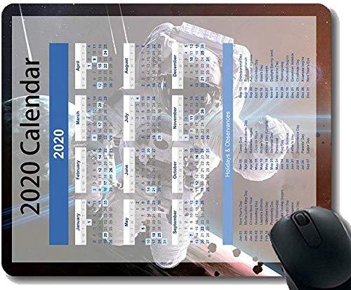 Colorido Año 2020 Calendario Alfombrilla de ratón 30 * 25 * 0.3cm Espacio Astronauta Cielo Estrellado Oficina de Ciencia ficción con Bordes cosidos para el hogar y la Oficina