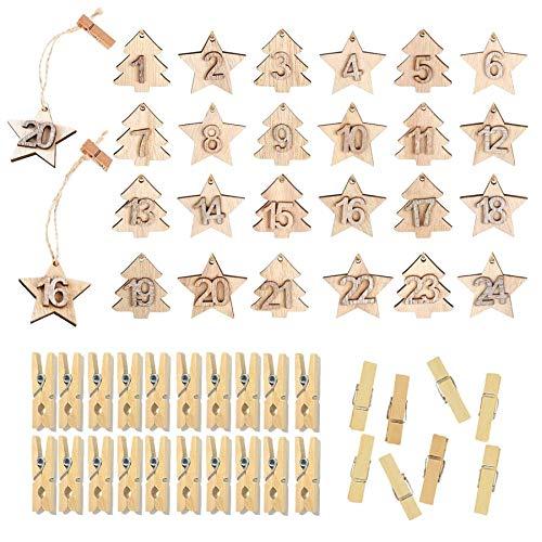 Sunshine smile holzanhänger adventskalender,Holz Weihnachtsbaum Sterne anhänger,holzanhänger 1 bis 24,holzanhänger Zahlen,holzklammern Weihnachten,holzanhänger Dekoration