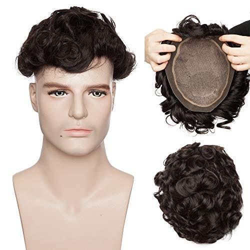 Toupee Uomo Capelli Veri Hair Topper Umani Toupet Extension 100% Indian Human Hair Ricci Silk Top Lace mix PU 20cm*25cm Parrucca Corta 15cm Pesa 80g 130% High Density - #1B Nero Naturale