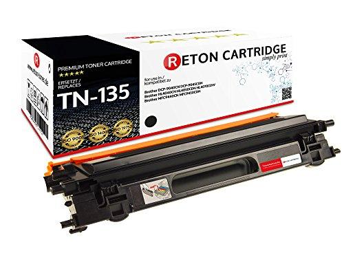 Original Reton Toner, kompatibel, Schwarz für Brother TN-135 (TN135BK), DCP-9045CDN, 9040CDN, 9045CN, HL-4040CN, 4070CDW, 4040CDW, 4070CDS, MFC-9440, 9450, 9840, 9440CN, 9450CDN, 9840CDW