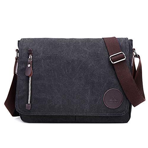 Nlyefa Umhängetasche Canvas Messenger Bag Collegetasche 13,3 Zoll Schultertasche Kuriertasche Bürotaschen männer, EINWEG