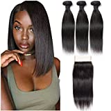 Brazilian Straight Human Hair Virgin 3 Hair Bundles with 4X4 Free Part Lace Closure 100% Unprocessed Silky Straight Human Hair Weave Weft Natural Black (12 12 12+10 Inch)