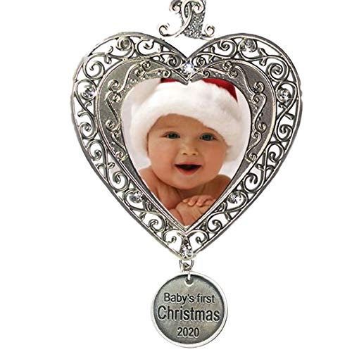 BANBERRY DESIGNS Baby's First Christmas - 2020 1st Picture Ornaments for Newborn Babies - Filigree Heart Shaped Photo Picture Ornament - Baby Xmas Ornaments Keepsakes