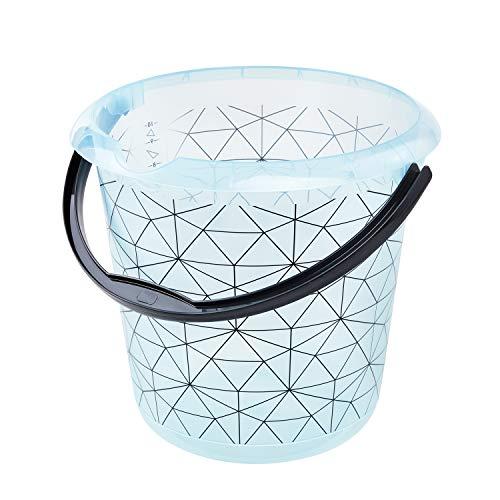 keeeper Eimer mit integrierter Mess-Skala und ergonomischem Griff, 10 l, Ilvie Polygon, Eisblau-Transparent, Polypropylen